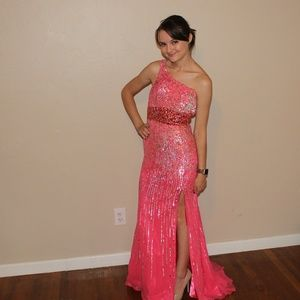 One Shoulder Pink Sherri Hill gown